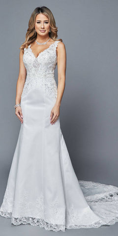 White V-Neck Mermaid Style Wedding Gown Sleeveless