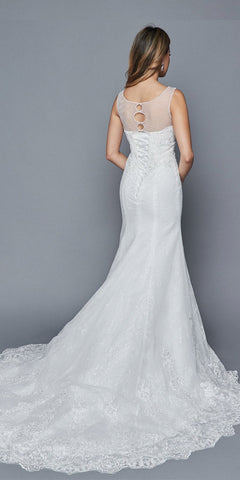 Illusion Sweetheart Bodice White Mermaid Style Wedding Gown