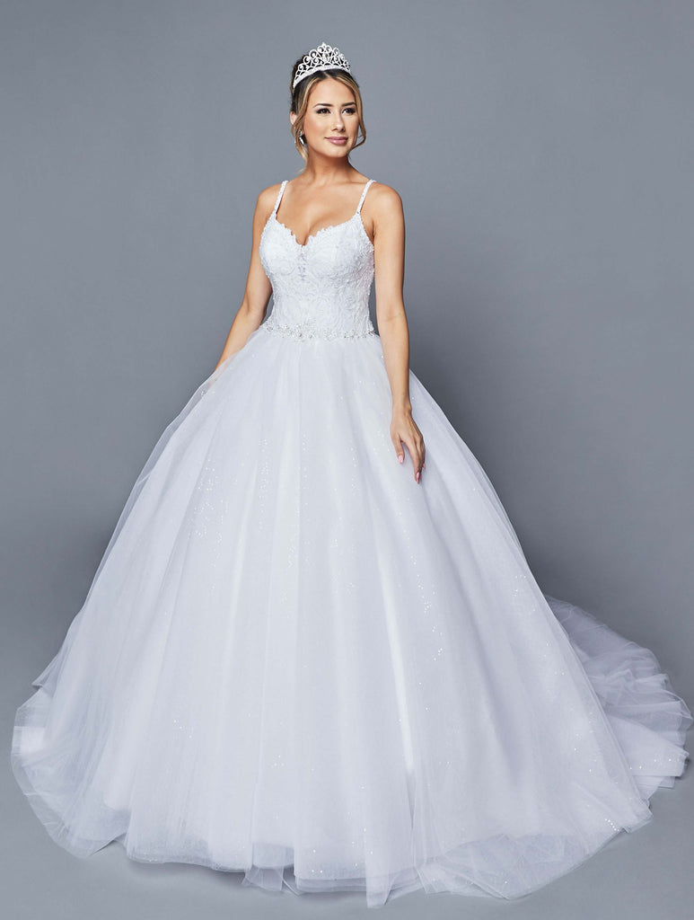 Pearl Embellished White Wedding Ball Gown Lace-Up Back