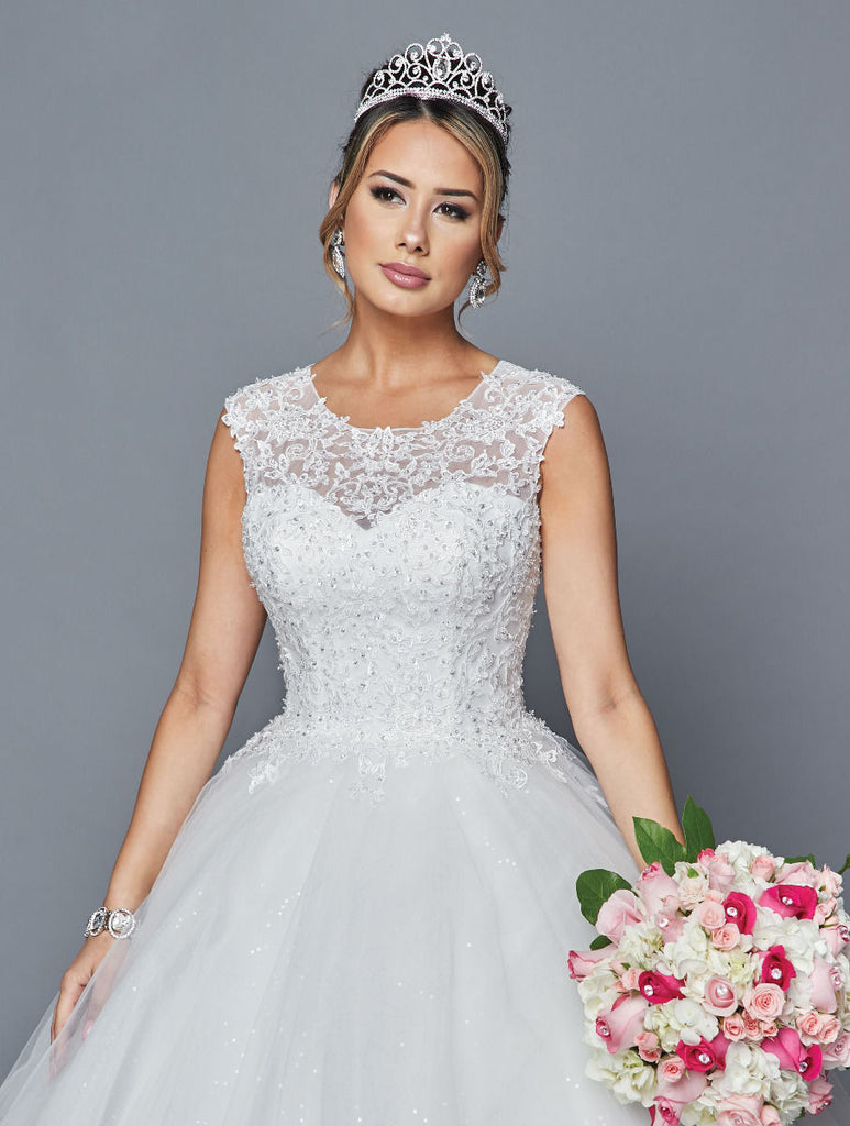Lovely LA Bridal 413 Scoop Neck Cap Sleeve A-Line Wedding Dress Beading Sequins Applique
