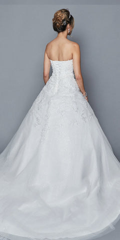 Sweetheart Neckline Strapless Wedding Ball Gown White
