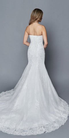 White Mermaid Style Long Wedding Dress Strapless