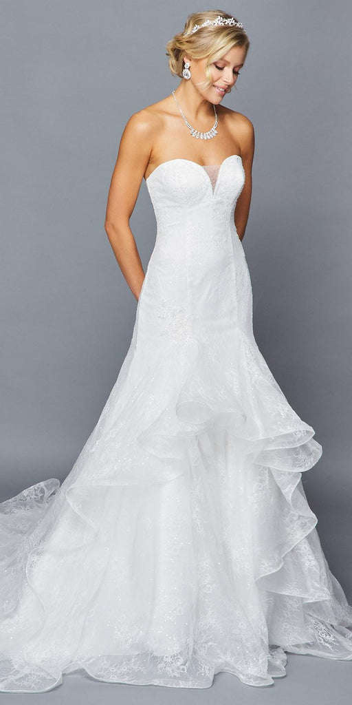 Lovely LA Bridal 416 Strapless Plunging Sweetheart Neckline Illusion Panel Chapel Train Mermaid Wedding Dress