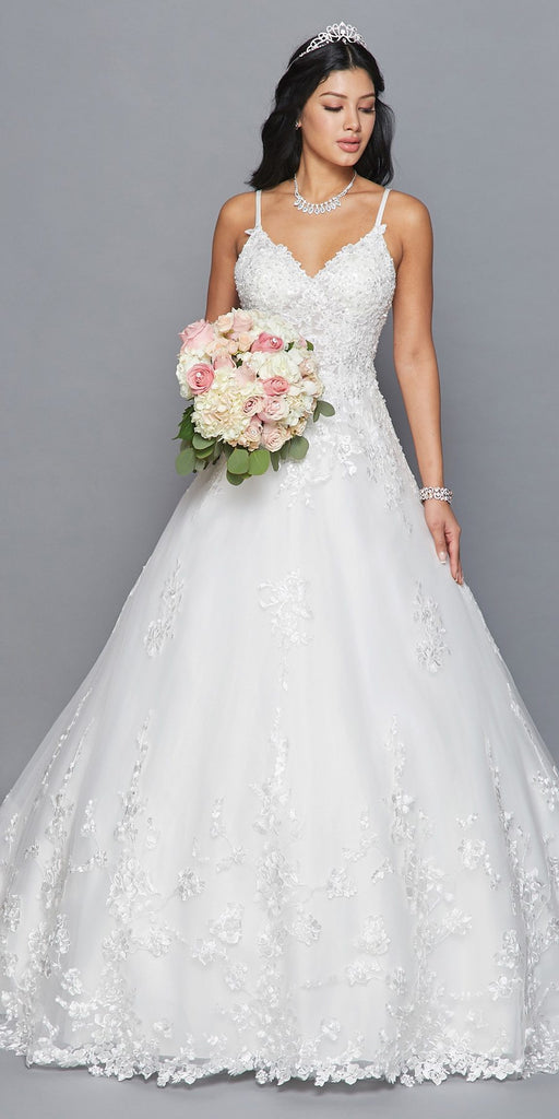 Lovely LA Bridal 417 Spaghetti Straps V-Neckline Open Back A-Line Wedding Dress With Beaded Embroidery Applique