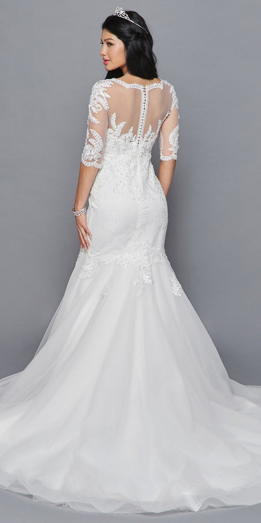 Lovely LA Bridal 418 Mid Length Sleeve V-Neckline Mermaid Court Train Wedding Dress Beaded Lace Applique