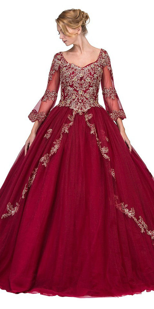 Burgundy Appliqued Long Quinceanera Dress with Bell Sleeves