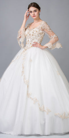 Ivory/Gold Appliqued Long Quinceanera Dress with Bell Sleeves