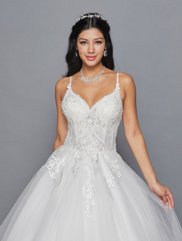 Lovely LA Bridal 419 Spaghetti Straps V-Neckline Ball Gown Wedding Dress Beaded Lace Applique.