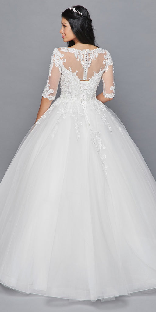 Lovely LA Bridal 421 Mid-Length Sleeve A-Line Wedding Gown Illusion Boat Neckline Beaded Lace