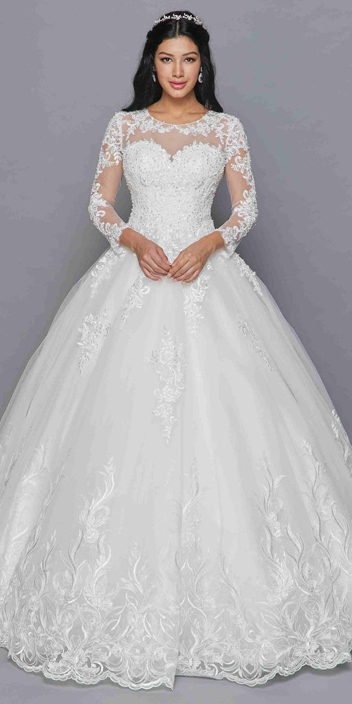 Lovely LA Bridal 422 Mid-Length Sleeve A-Line Wedding Gown Illusion Boat Neckline Beaded Lace