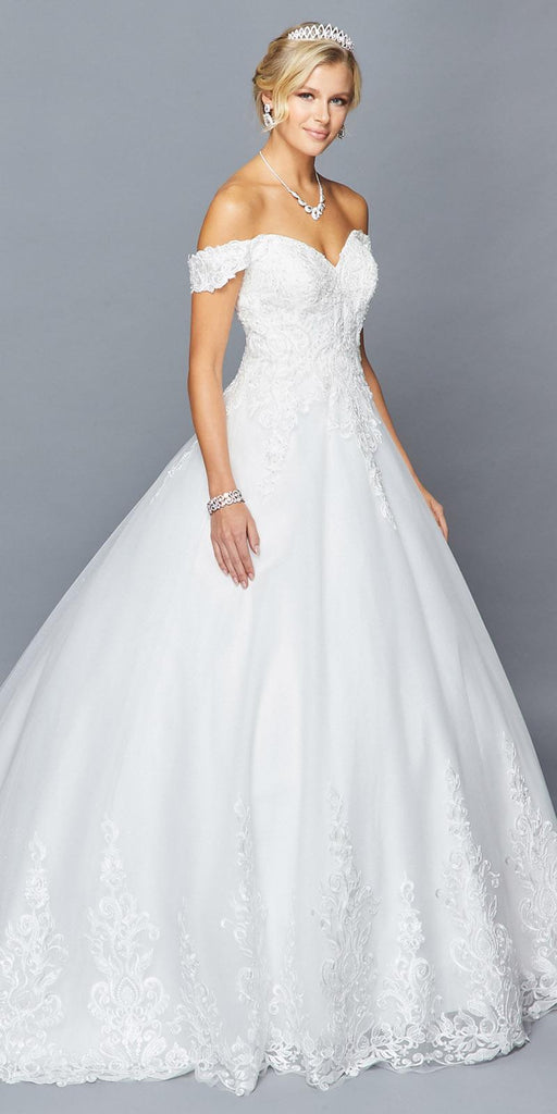 Lovely LA Bridal 424 Off The Shoulder Sweetheart Neckline Lace Tulle A-Line Chapel Train Wedding Dress Beaded Lace Applique.