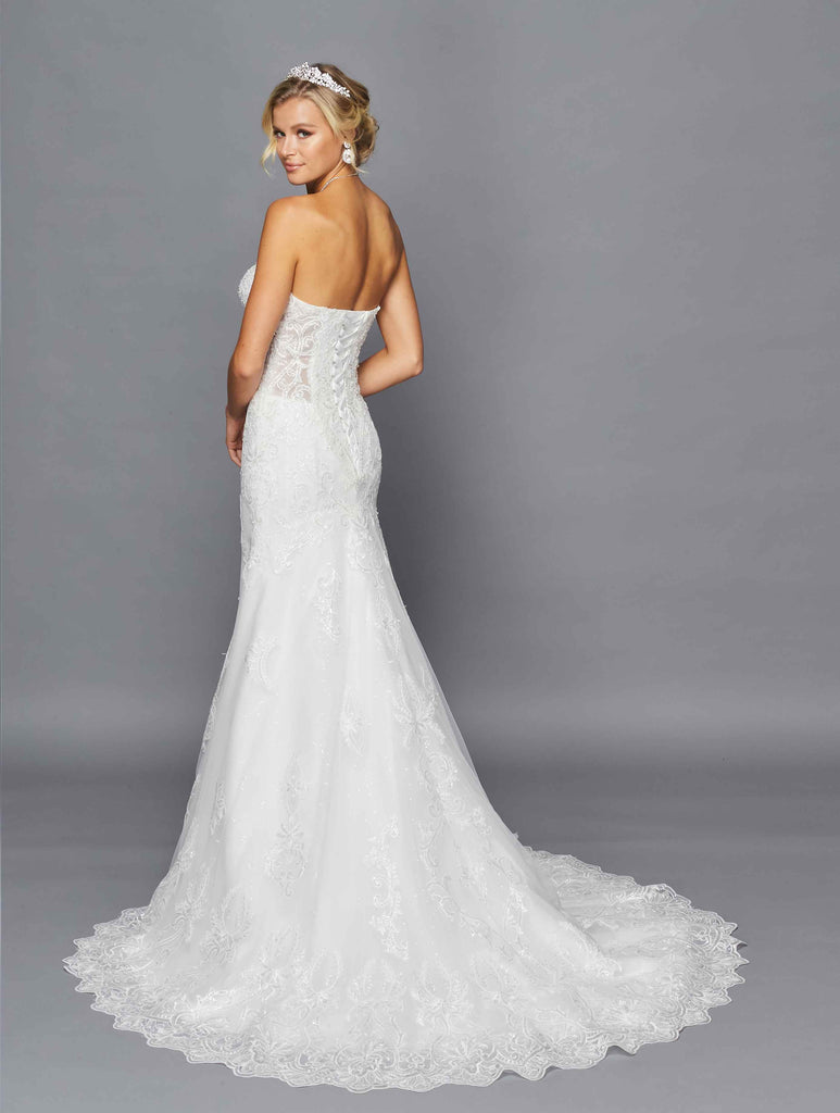 Lovely LA Bridal 430 Strapless Sweetheart Neckline Sheer Side Cut Out Court Train Trumpet Mermaid Wedding Dress