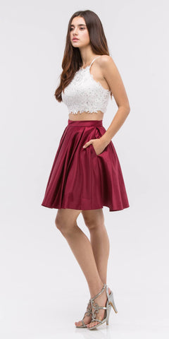 Lace Crop Top Pleated Skirt Burgundy/White Two-Piece Homecoming Dress