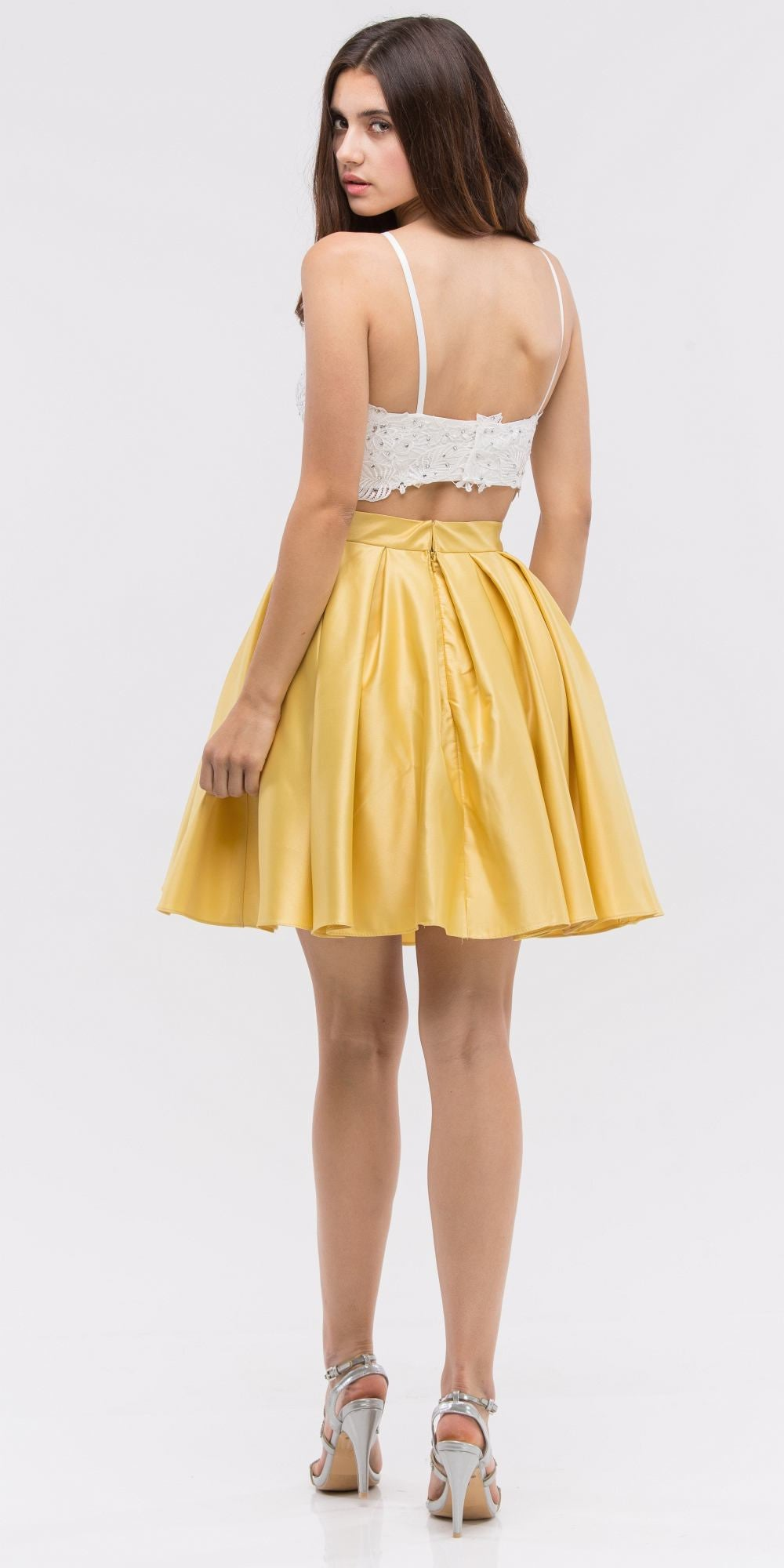 f502e309838 ... Lace Crop Top Pleated Skirt Yellow/White Two-Piece Homecoming Dress ...
