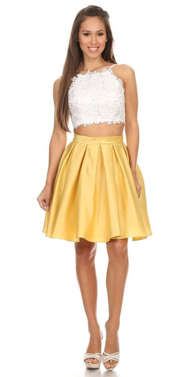 8151cc10b ... Lace Crop Top Pleated Skirt Yellow/White Two-Piece Homecoming Dress ...