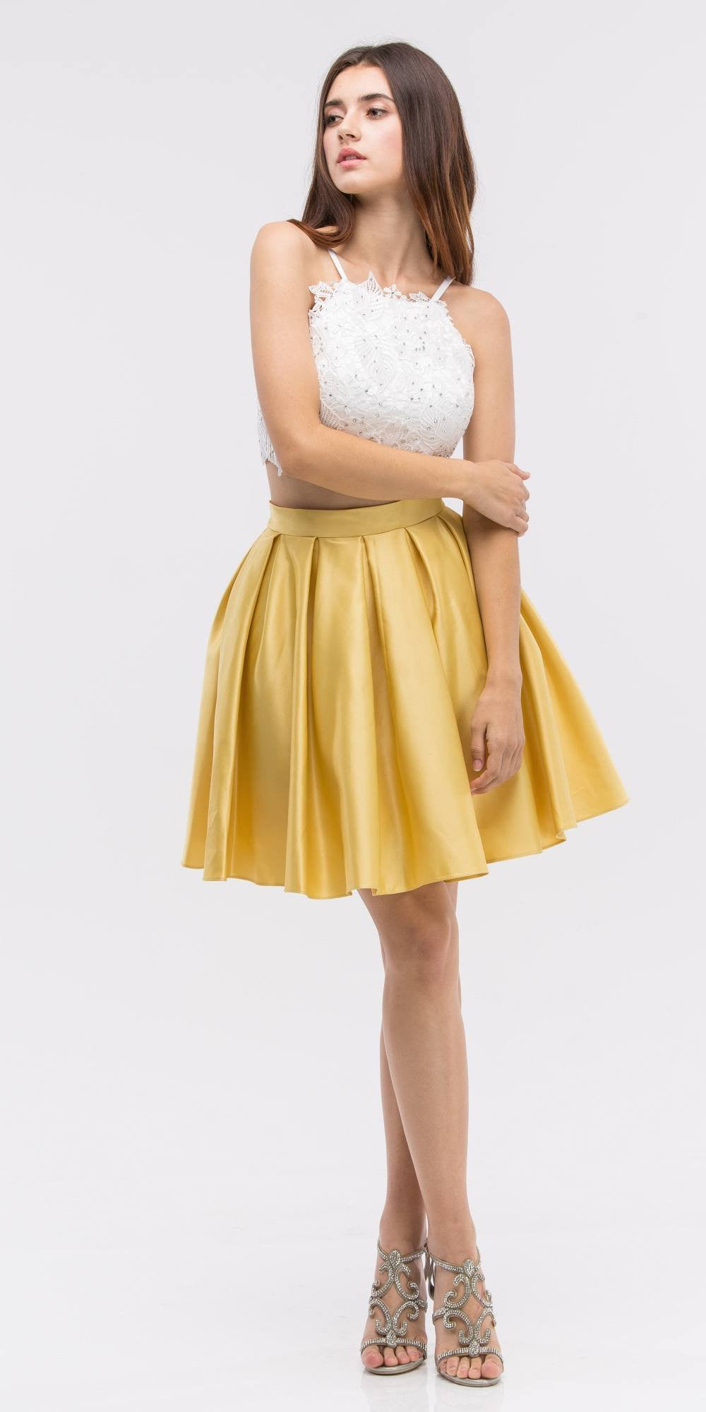 0bc489f7066 ... Lace Crop Top Pleated Skirt Yellow/White Two-Piece Homecoming Dress