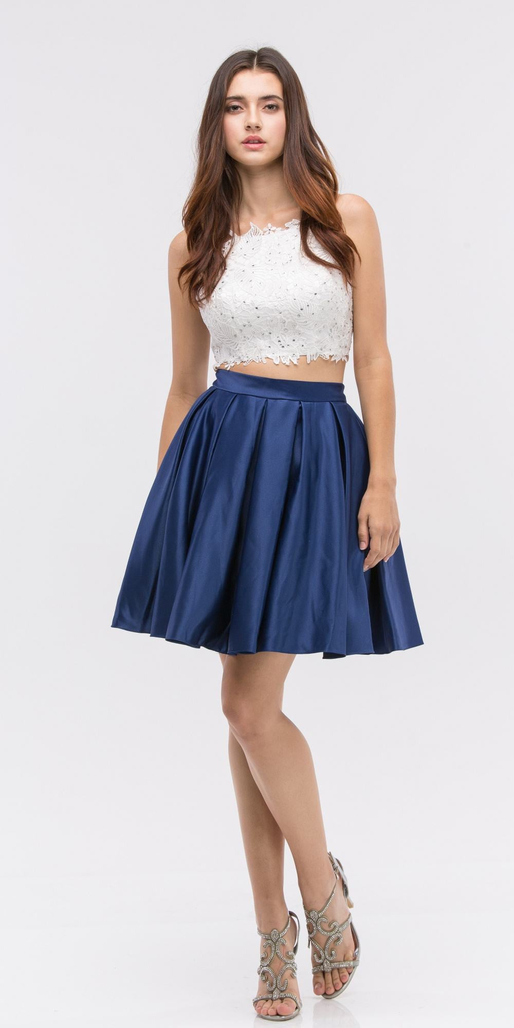 b70f072af9 Lace Crop Top Pleated Skirt Navy White Two-Piece Homecoming Dress. Tap to  expand