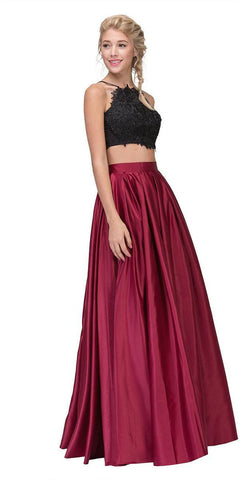 Eureka Fashion 4322 Two-Piece Long Prom Dress Lace Crop Top and Satin Skirt Black/Burgundy
