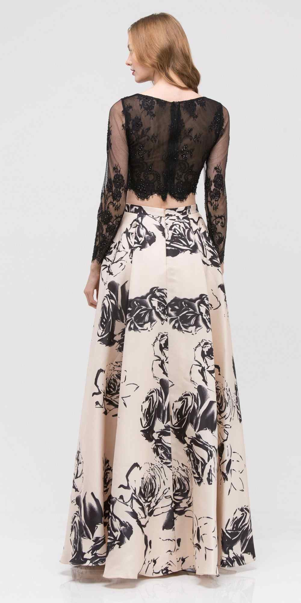 f18ed1eb25a ... Champagne Long Sleeves Top Black Print Skirt Two-Piece Prom Gown ...
