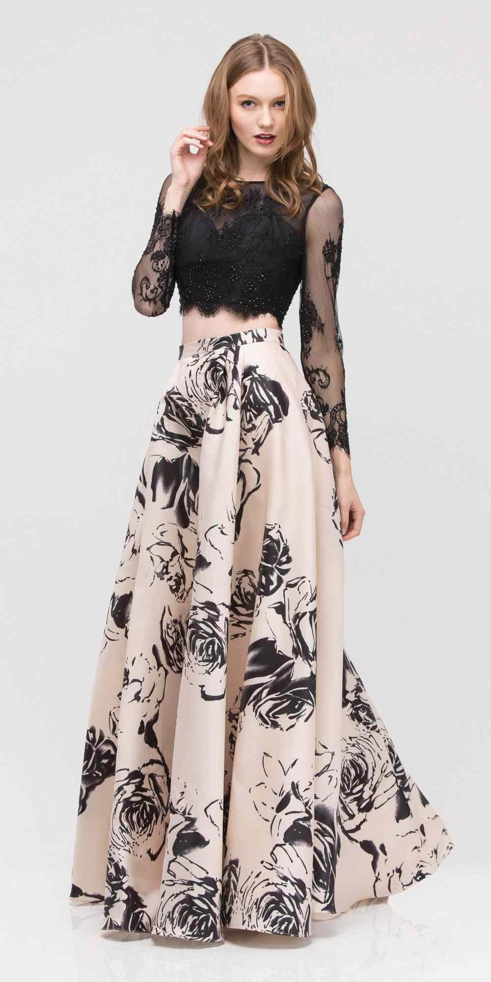 c52502500eb Champagne Long Sleeves Top Black Print Skirt Two-Piece Prom Gown ...