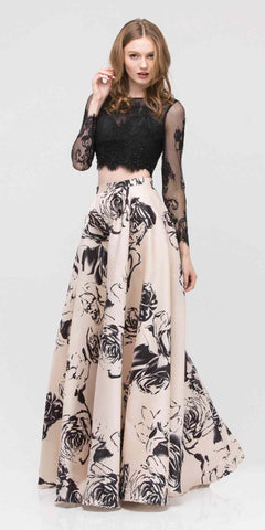 Halter Two-Piece Floral Print Mermaid Prom Gown Cut Out Back