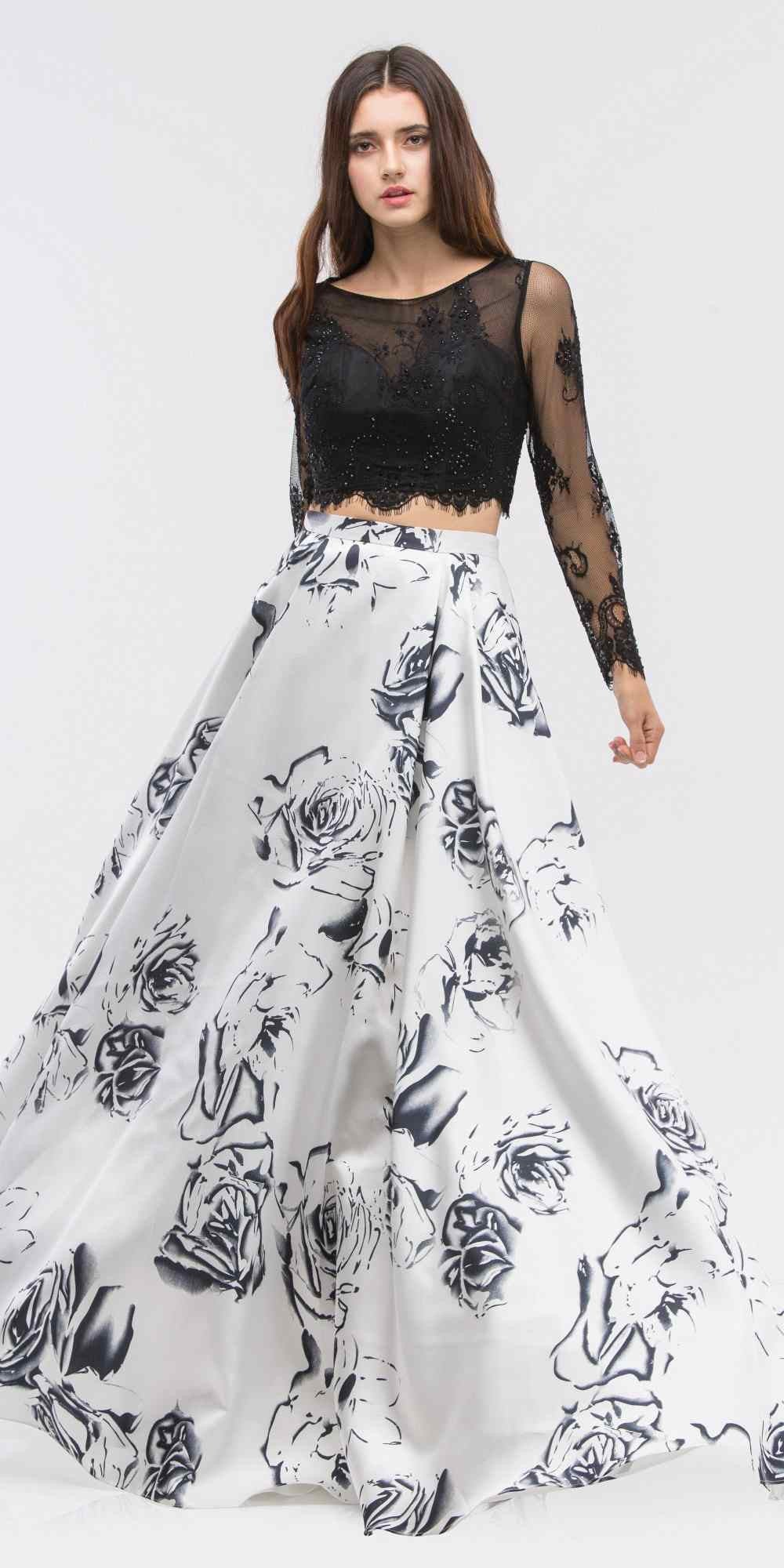 be71e55b59b ... Black Long Sleeves Top Off White Print Skirt Two-Piece Prom Gown ...