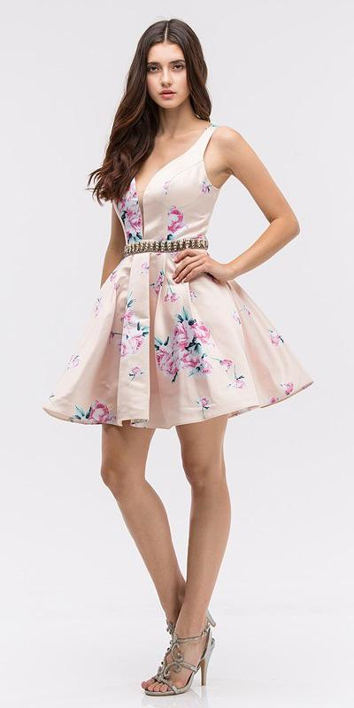 Champagne with Floral Print Homecoming Short Dress