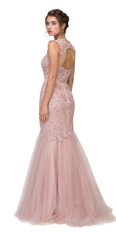 Eureka Fashion 4510 Cut Out Back Floor Length Mermaid-Style Sleeveless Wedding Gown Dusty Rose Back View