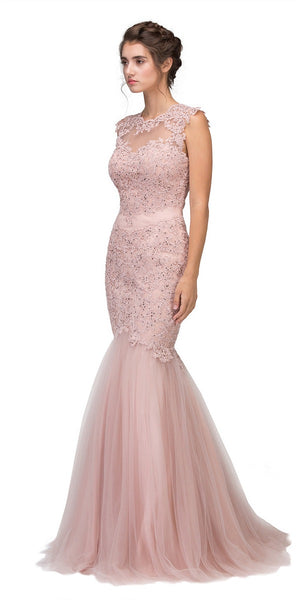 Eureka Fashion 4510 Cut Out Back Floor Length Mermaid-Style Sleeveless Wedding Gown Dusty Rose