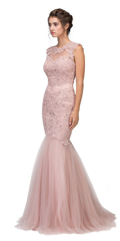 95cf8b5bde Eureka Fashion 4510 Cut Out Back Floor Length Mermaid-Style Sleeveless  Wedding Gown Dusty Rose