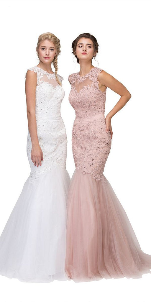 Eureka Fashion 4510 Cut Out Back Floor Length Mermaid-Style Sleeveless Wedding Gown Dusty Rose and White