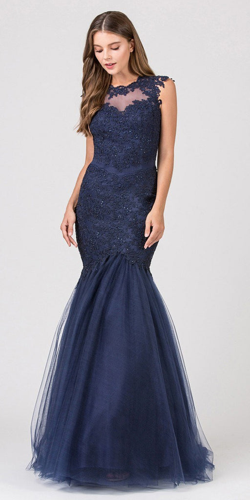 Eureka Fashion 4510 Cut Out Back Floor Length Mermaid-Style Sleeveless Wedding Gown Navy Blue