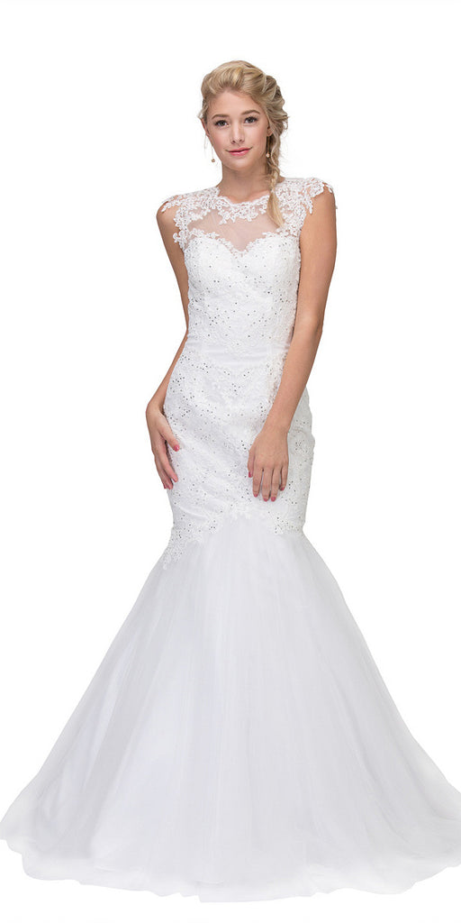 Eureka Fashion 4510 Cut Out Back Floor Length Mermaid-Style Sleeveless Wedding Gown Off White