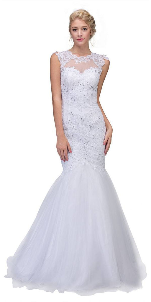 Eureka Fashion 4510 Cut Out Back Floor Length Mermaid-Style Sleeveless Wedding Gown White