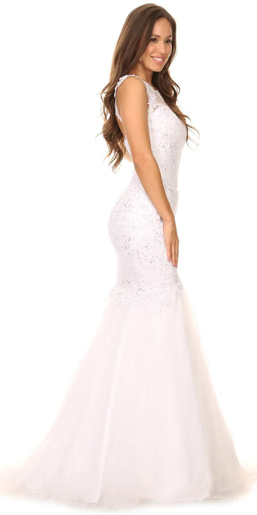 Cut Out Back Floor Length Mermaid-Style Sleeveless Wedding Gown White