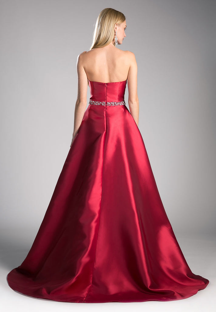 Strapless Sweetheart Long Prom Dress Beaded Waist Burgundy