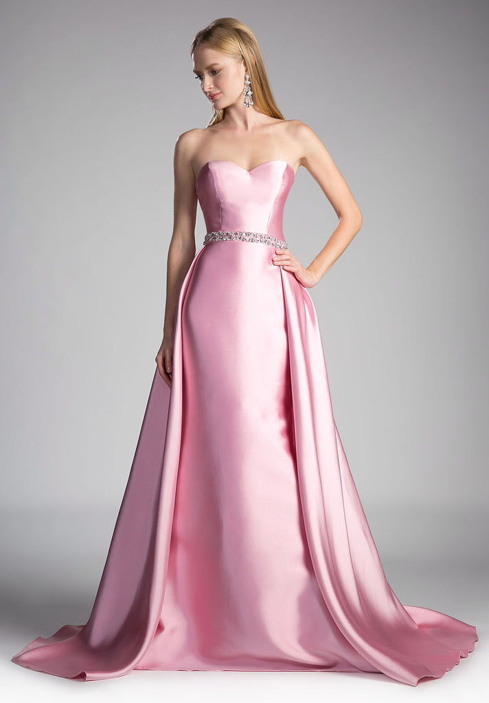 Strapless Sweetheart Long Prom Dress Beaded Waist Dusty Rose