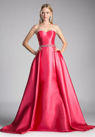 Strapless Sweetheart Long Prom Dress Beaded Waist Guava