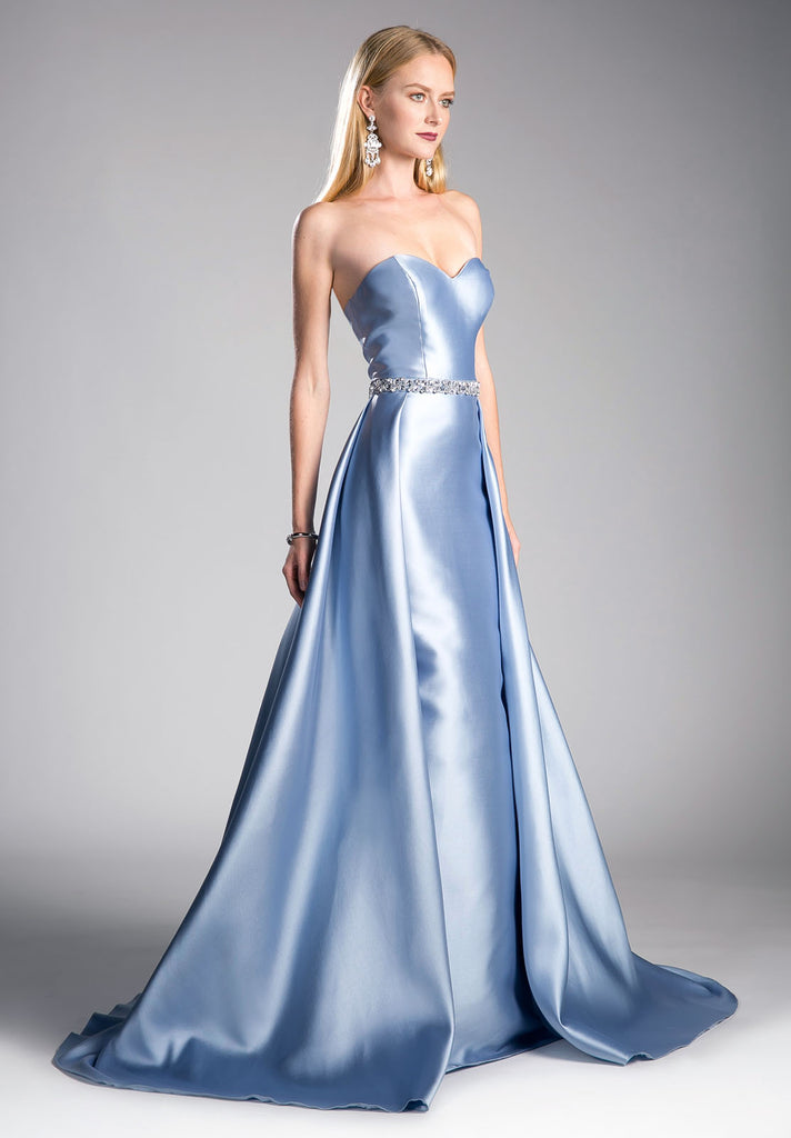 Strapless Sweetheart Long Prom Dress Beaded Waist Perry Blue