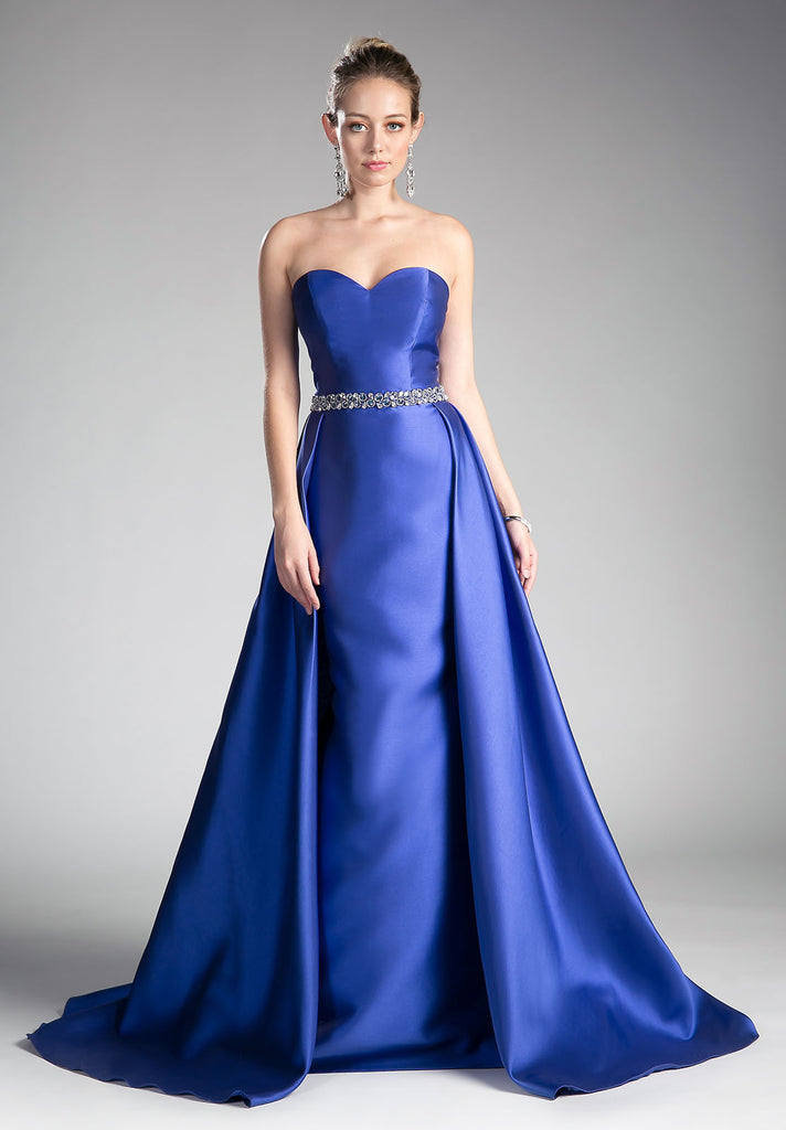 Strapless Sweetheart Long Prom Dress Beaded Waist Royal Blue