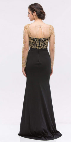 Embellished Mermaid Prom Gown Black/Gold with Illusion Long Sleeve