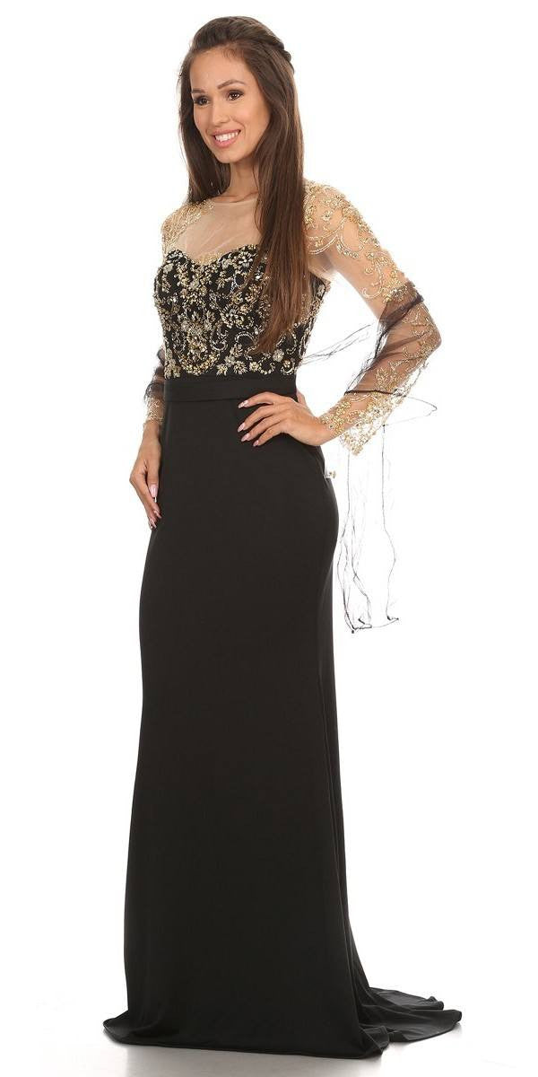 Embellished Mermaid Prom Gown Black/Gold with Illusion Long Sleeve ...