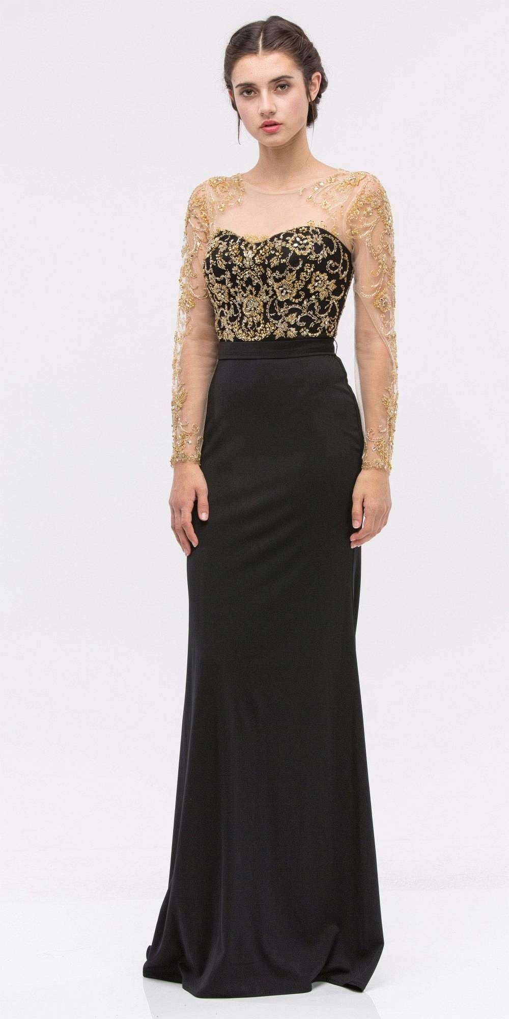 Embellished Mermaid Prom Gown Blackgold With Illusion Long Sleeve