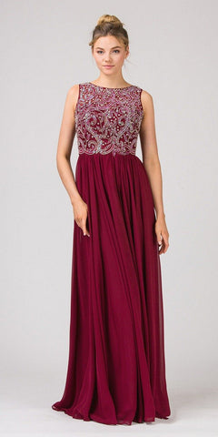 Eureka Fashion 4611 Burgundy Beaded Floor Length Formal Dress Cut-Out Back