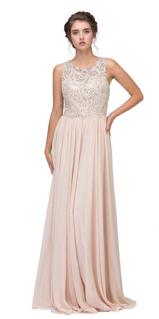 Champagne Beaded Floor Length Formal Dress Cut-Out Back