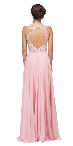 Blush Beaded Floor Length Formal Dress Cut-Out Back