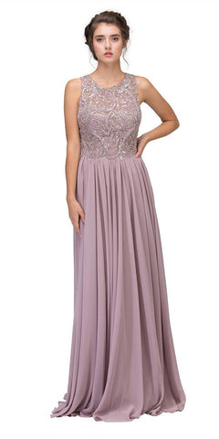 Victorian Lilac Beaded Floor Length Formal Dress Cut-Out Back