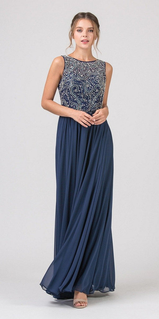 Eureka Fashion 4611 Navy Blue Beaded Floor Length Formal Dress Cut-Out Back