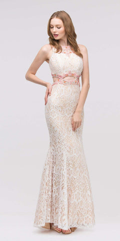Ivory/Coral Beaded Neckline Lace Prom Gown with Cut-Out Waist