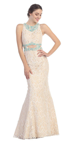 Ivory/Turquoise Beaded Neckline Lace Prom Gown with Cut-Out Waist